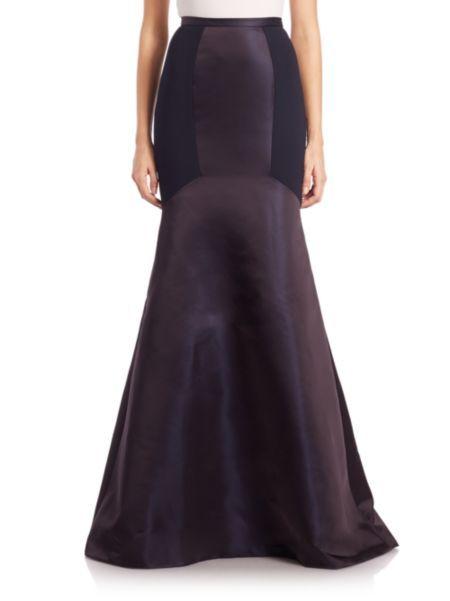 Theia - Colorblock Crepe Mermaid Skirt