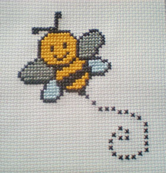 Bumble Bee Counted Cross Stitch Kit 6 Count for Children by CordylionCreatives on Etsy