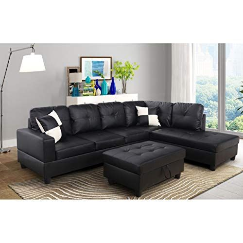 Aycp Furniture Black Right Facing Chaise Convertible L Shape Faux Leather Sectional Sofa Set Sectional Sofas Living Room Modern Sofa Sectional Couch Design