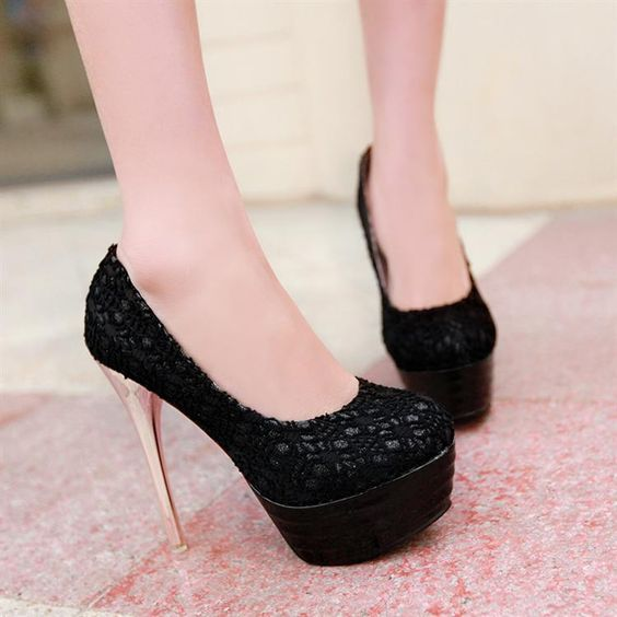 Womens Charming Lace Pump High Heels
