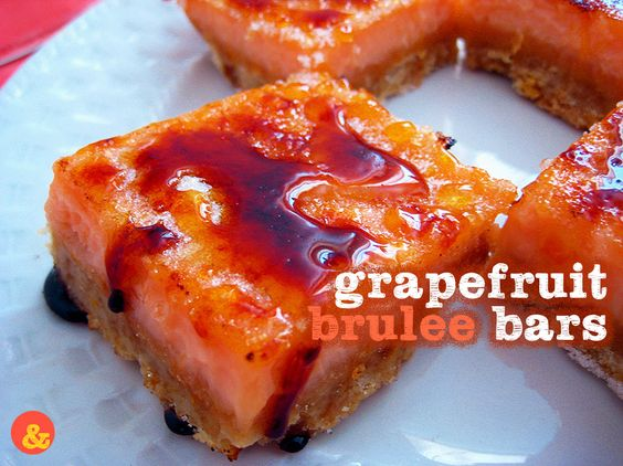 Grapefruit Brulee Bars: Rich, buttery shortbread crust holds a filling of tart pink grapefruit curd, all covered in a layer of crunchy caramelized sugar!