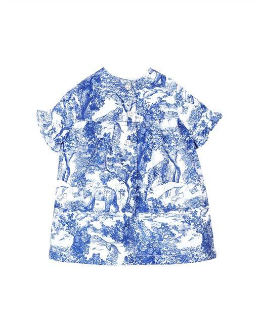 Vestido De Bebé Niña Estampado Con Lazo De Adorno En 2021 Top Con Hombros Descubiertos Vestidos Bebe Niña Vestido De Bebé