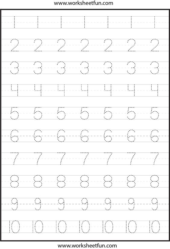 math worksheet : number tracing worksheets for kindergarten 1 10  ten worksheets  : Worksheet For Kindergarten 1