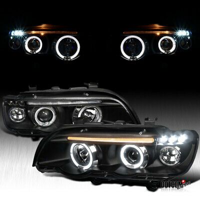 Ad Ebay 2001 2003 Bmw E53 X5 Dual Halo Led Projector Headlights Black Head Lamps Pair 2020