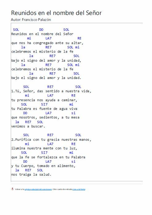 Canto Reunidos En El Nombre Del Señor Letras Y Acordes Letra De Cantos Catolicos Letras De Canciones Cristianas