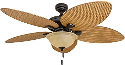 New Honeywell Ceiling Fans 50507 01 Palm Island 52 Inch Tropical Ceiling Fan Tuscan Bowl Light Five Leaf Wicker Blades Indoor Outdoor Sandstone Online In 2020 Ceiling Fan Bowl Light Tropical Ceiling Fans