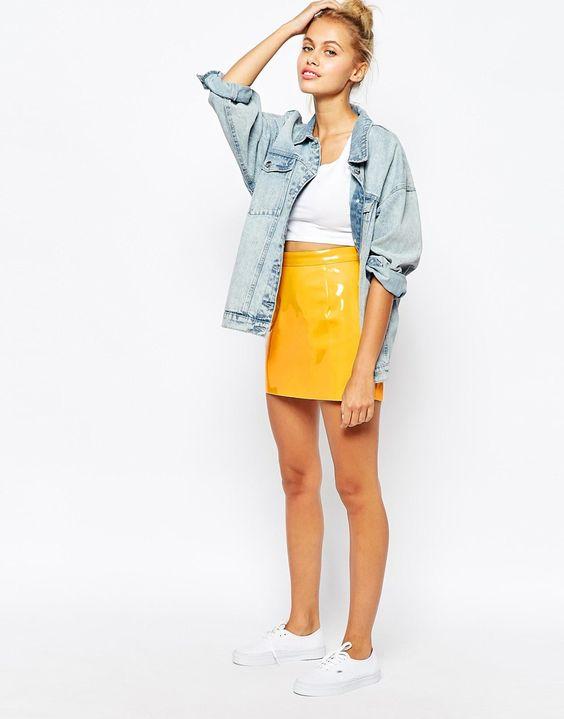 American apparel yellow patent skirt