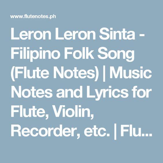 Grenade Flute Sheet Music With Lyrics: Filipino Folk Song (Flute Notes