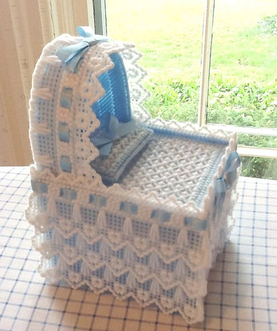 Tissue Box Cover Blue Baby Bassinette by Sillysockmonkeys on Etsy, $24.00