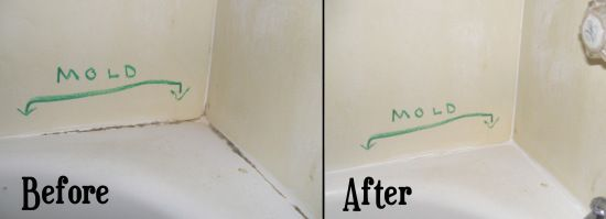 cleaning mold stains from bathtub caulk