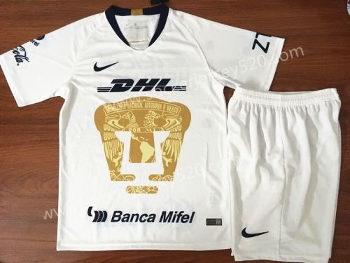 2018 19 Pumas Unam Home White Kids Youth Soccer Uniform Cheap Football Shirts Soccer Jersey Football Shirts
