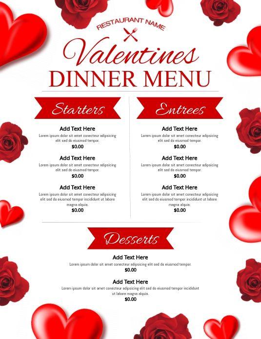 Valentines Menu Menu Design Template Menu Template Valentine S Menu Ideas