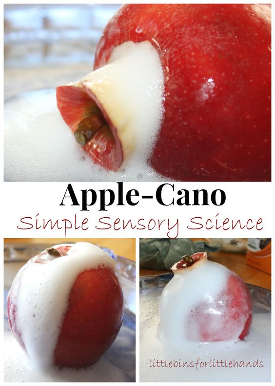 Erupting Apple Science Apple-Cano Fizzy Baking Soda Experiment   Hands-On Learning And Play Fall is an excellent time of the year to put a little twist on classic science experiments! We especially enjoy baking soda fizzy eruptions. We have tried a few different volcano variations over the past ...