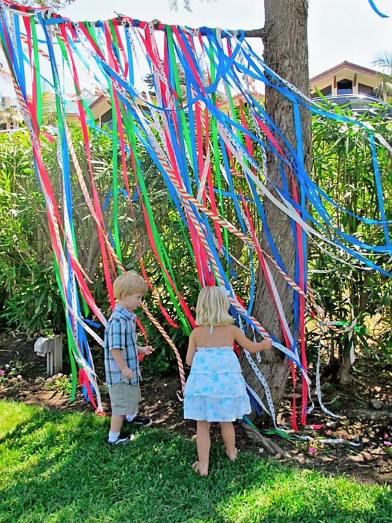 "Tie ""flagging tape"" to tree or tent for fun and cute decor. ** E's picnic party at park **"