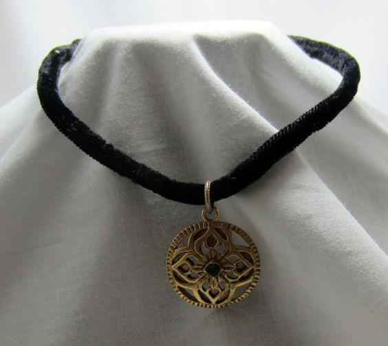 Black Velvet Rope Necklace Choker gold tone by TreasureTrovebyTish, $8.00