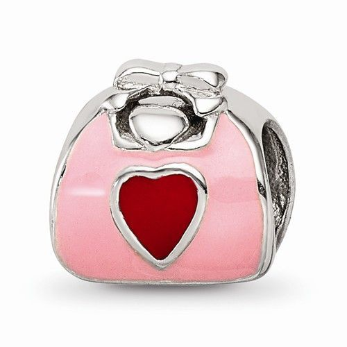 Sterling Silver Reflections Two Hearts Bead Solid 10.00 mm 10.00 mm Themed Beads Jewelry