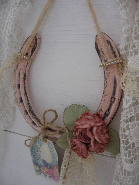Romantic Country Up-cycled Horseshoe Pink Horseshoe by Fannypippin