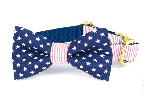 Patriot Bow Tie Dog Collar
