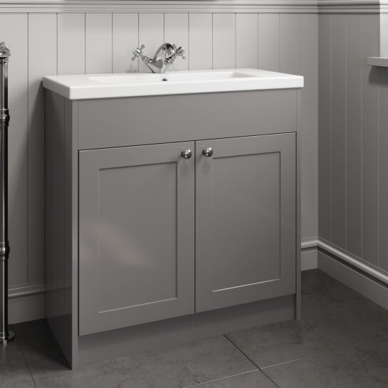 Park Lane Grey Traditional Floor Standing Vanity Unit Basin 800mm Width Vanity Units Traditional Vanity Units Fitted Bathroom Furniture