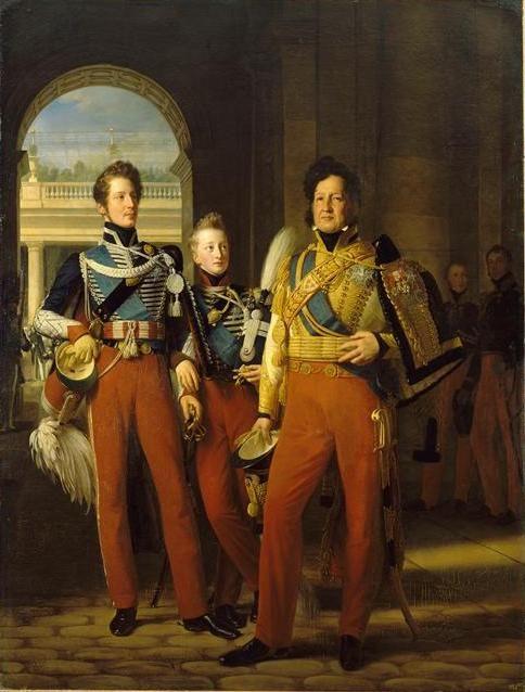 Le duc d'Orléans, les ducs de Chartres et de Nemours (1830) by Louis Hersent (French 1777-1860):