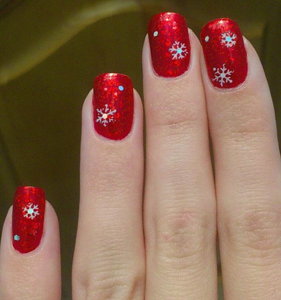 my red christmas nails 2016