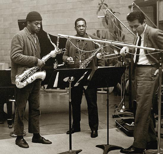 Archie Shepp, John Coltrane, and Bob Thiele in the studio. Photo by Chuck Stewart