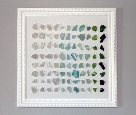 Beach glass artwork (sea glass found in Lake Michigan):