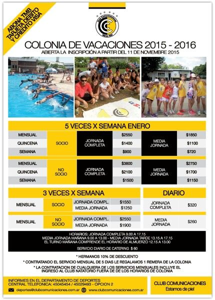 Precios Colonia de Vacaciones 2015 - 2016 / ENERO