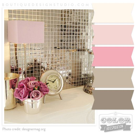 Pink cream rose brown warm grey color palette design for Pink and brown bathroom ideas
