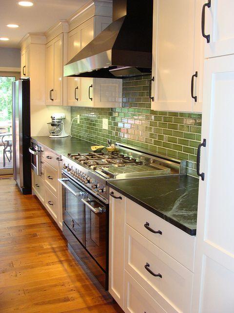 LOVE! White kitchen, cherry island, soapstone counters, hefty ORB ...