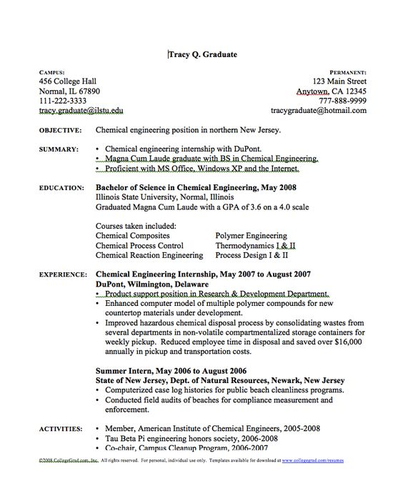 Chemical Engineer Resume -    resumesdesign chemical - normal resume format