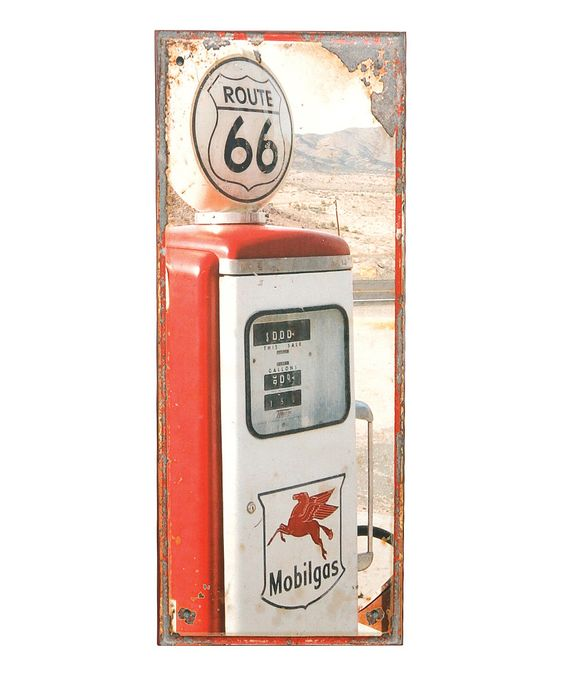 'Route 66' Gas Pump Wall Plaque