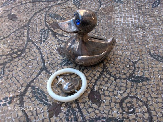 Antique Silver Plated Duck Bank and Duck by DaisVintageTreasures, $24.00