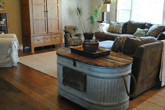 *Water trouth repurposed into a side table / end table. Upcycle