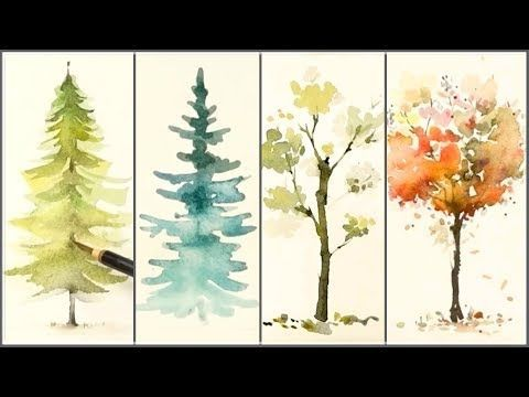 1 How To Paint 4 Different Trees For Beginners Easy Watercolor