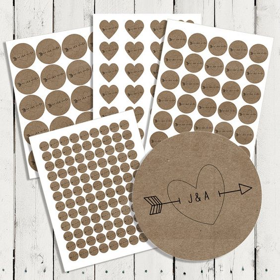 Personalized Wedding Brown Kraft Stickers by happyhoursprints, $4.75