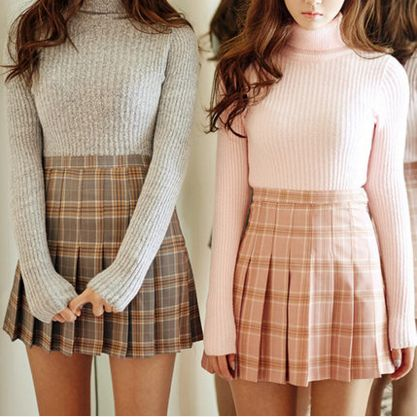 "Students grid pleated skirt - Use the code ""batty"" at Sanrense for 10% off your order!:"