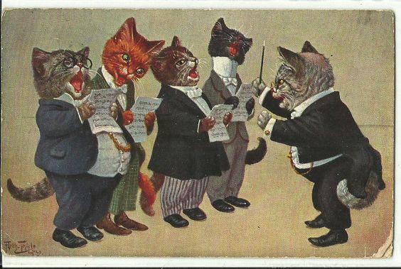 Orquestra Gatos Músicos Arte Arthur Thiele assinado Cartão Postal Antigo De Gato in Colecionáveis, Cartões postais, Animais | eBay