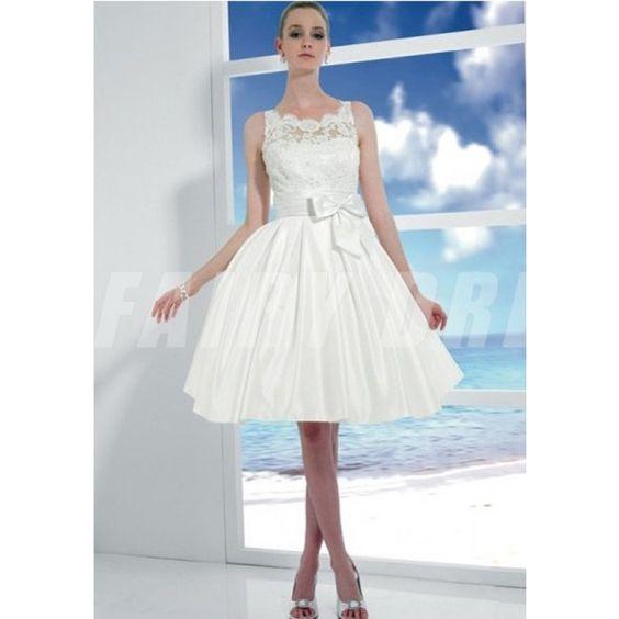 Robe de mariée à la plage à A-ligne décolleté carrée en taffetas et dentelle avec ruban Modèle: WBBF0690  Disponibilité : En stock €101,36