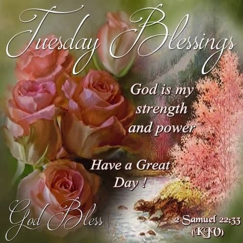 Tuesday Blessings. Samuel 22:33.God Bless.