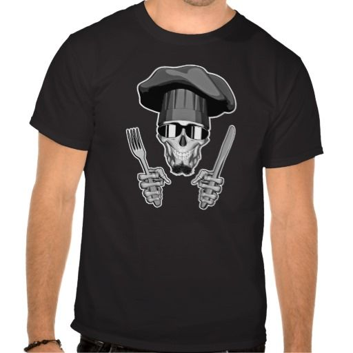 Chef Skull: Knife and Fork Shirts. Skull with chin beard, sunglasses, wearing chef hat and holding a knife and fork