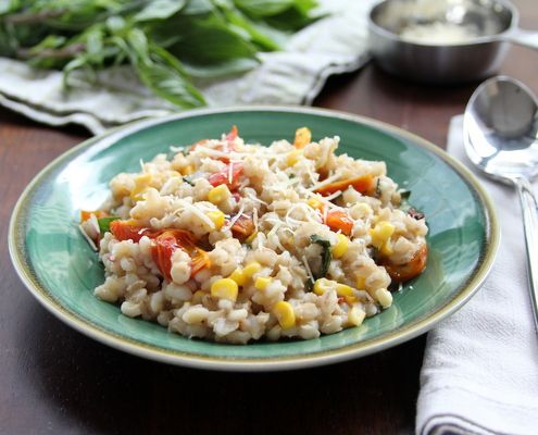 ... Corn, Roasted Tomato, and Basil | Recipe | Barley Risotto, Risotto and