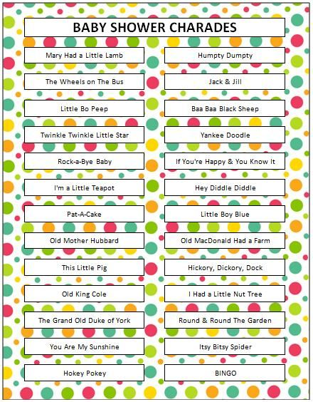 rhyme game charades baby showers girl shower and baby shower games