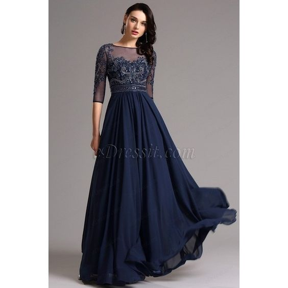 Half Sleeves Navy Blue Evening Dress Formal Gown (36161305) ($210 ...