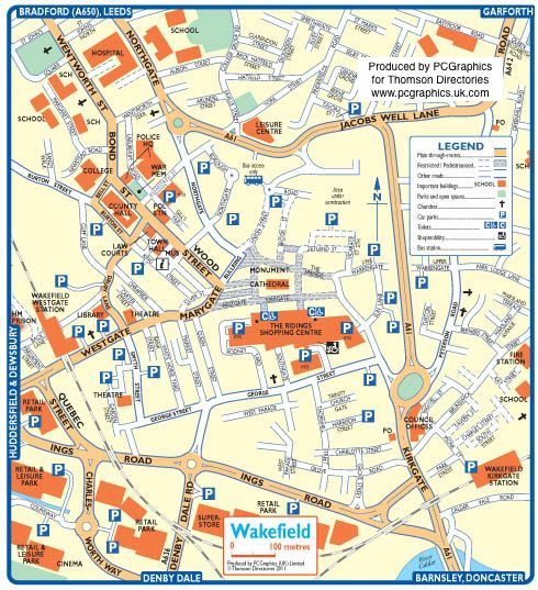 Map of Wakefield created in 2011 for Thomson Directories. One of approximately 350 UK town and city maps produced royalty free. Find out more...  http://www.pcgraphics.uk.com   or read our blog...    http://www.pcgraphics.uk.com/blog/