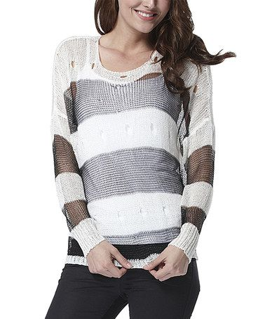 White & Black Sheer Stripe Wool-Blend Sweater by Simply Couture #zulily #zulilyfinds