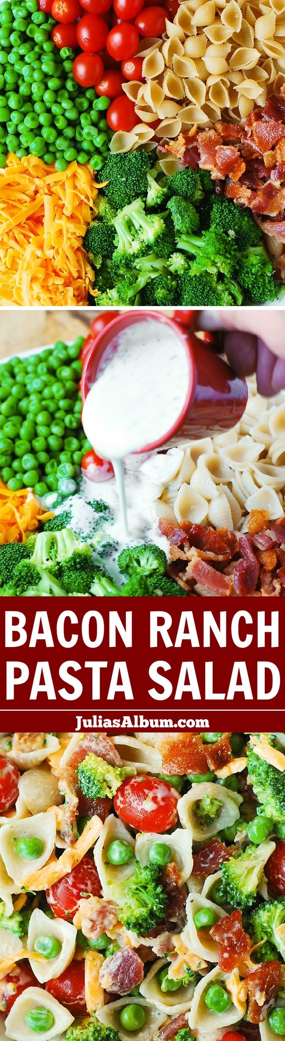 Bacon Ranch Pasta Salad - LOADED with veggies (broccoli, cherry tomatoes, sweet peas), sharp Cheddar cheese, pasta shells, and bacon! Healthy comfort food!: