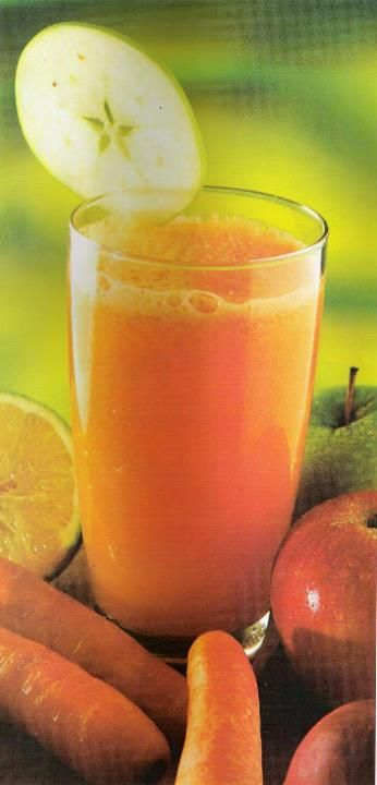 JUGO PARA COMBATIR DERMATITIS O AFECCIONES DE LA PIEL Ingredientes: 2 Naranjas 4 Zanahorias 1 Manzana Preparación: Exprime el jugo de las naranjas, pasa las zanahoria y la manzana por el extractor de jugos. Mezcla todo y bebe sin colar a media tarde, después de la comida o antes de la cena.