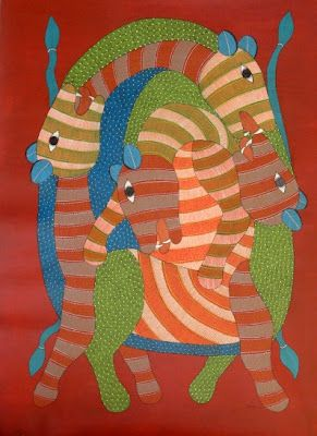 by Rajendra Shyam, Gond art of India
