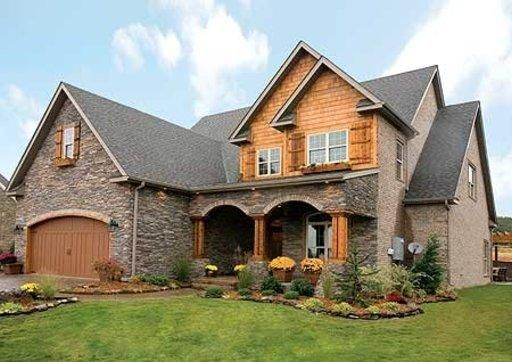Craftsman style home - rock and wood combo